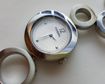 Ladies Geometric Watch Mod Circles Silver Tone