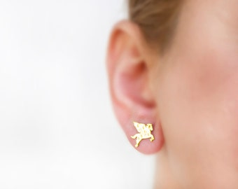 Pegasus earrings, YELLOW SOLID GOLD, hammered jewelry, gold studs, tiny earrings whimsical, women post earrings, flying horse, stud earrings
