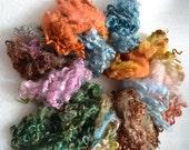 4oz sheep fleece sheep locks, handdyed fibre, felting supply, wet felting, dry felting, wool, landscape colours, moss