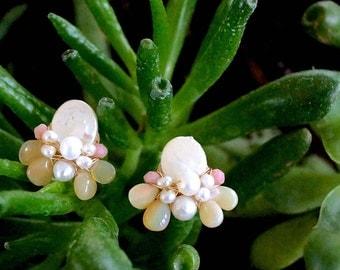 Nature inspired opal cluster stud earrings