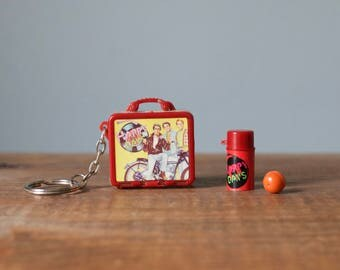 Vintage Plastic Miniature Happy Days Lunch Box Keychain with Thermos and Orange