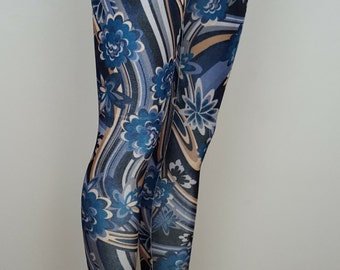 Ladies Swirly Foral Velvet Leggings - pick your size and color