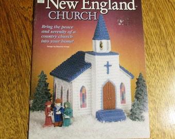 Crochet New England CHURCH - Serene COUNTRY Christmas Church Home Decor w/ Pine Trees & Carolers - Designer CROCHET Pattern