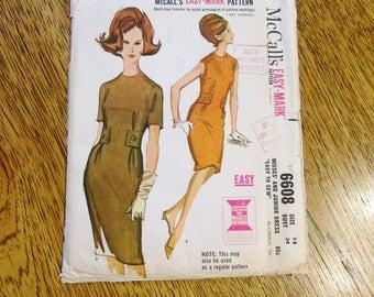 MOD 1960s Slim Sheath Dress w/ Side Button Belt - CHOOSE Size 13 or 14 - VINTAGE Sewing Pattern McCalls 6608