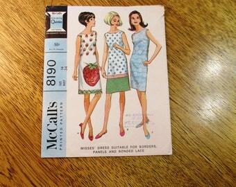 "MOD 1960s Sleeveless Shift / Sheath Dress, Perfect for Border Prints - Size 14 (Bust 34"") -  RETRO Sewing Pattern McCalls 8190"