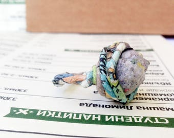 First wedding anniversary ring gift for an eco wife from upcycled newspaper. Recycled newspaper ring in your size. Blue accent.