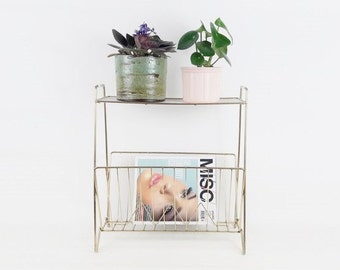 Mid Century Side Table and Magazines Rack Holder White and Golden Metal