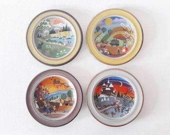 4 Vintage Decorative Folk Art Seasons German Landscape Plates by Schramberg SMF