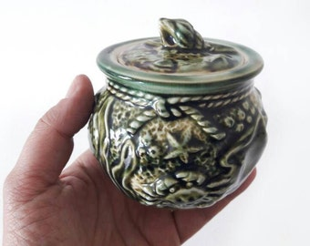 Vintage French Pottery Sugar Bowl with Embossed Sea Life Pattern Crab Seahorses and Shellfishes