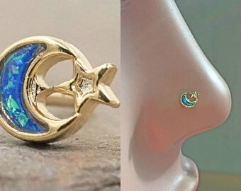 14kt Gold Nose Ring Gold Nose Stud Opal Crescent Moon and Star