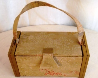 Vintage 1940's Box Purse Compacts Attached on Ends Asian Print Fabric