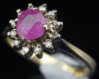 Estate Pink Sapphire Diamond 10k Yellow Gold Ring Halo Engagement Vintage Antique