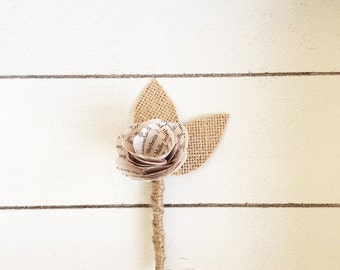 Book Page Boutonniere, Rustic Boutonniere, Paper Boutineer, Paper Rose, Eco Wedding-Customizable (Item: TPG71B)