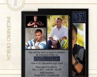 Graduation Invitation,  Photo Cards, Senior Boy Invitation, Announcement, Templates, Photoshop, Graduation Cards, Graduation Card, Joshua