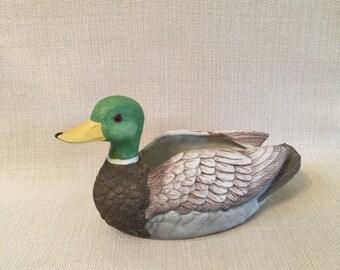 Mallard Duck Bisque Porcelain Planter Dish Ashleigh Manor