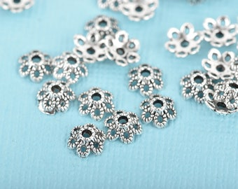 300 Filigree Flower Bead Caps, 6mm, fits beads 6mm to 12mm, Antique Silver FLOWER Metal Bead Caps, fin0687b