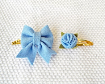 Hair clips with felt bow in light blue & flower set / Handmade with 100% Wool Felt / Birthday gift hairclip set / Baby Girl Accessories