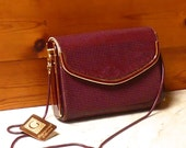 Vintage Genuine Burgundy Glomesh Clutch / Evening Bag with Attachable Snake Chain