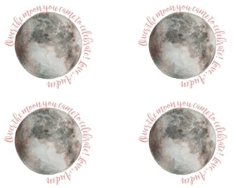 "Over the Moon customized birthday favor tags, 2.5"" Circle"