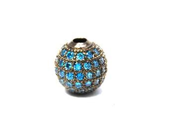 Blue Crystal Gunmetal Cubic Zirconia Beads, 8mm Round