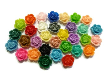 Rose Resin Cabochon - 15mm x 6mm - Mixed Color - You Pick Quantity - Variety Flower Bud - Bulk - DIY - Plastic Flower - Craft - Acrylic