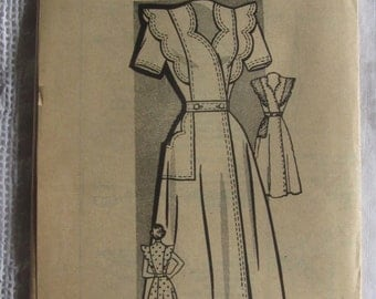 Vintage 40s Wrap Dress Pattern Marian Martin 9012 34 Bust Housedress Front Wrap Ruffle