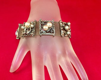 Vintage Silver and Gold Mesh Pearl Bracelet .75 Inches Wide 7.25 Inches Long Fits a 7 Inch Wrist and Smaller Previously 18 Dollars ON SALE