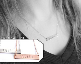 personalized bar necklace, rose gold necklace, custom, rose gold bar necklace personalized, silver bar necklace, name necklace, gift jewelry