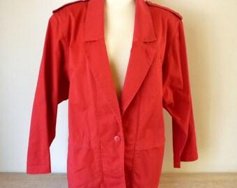 Vintage Red Denim Blazer Jacket for Women - Size 12 - 1980s Summer Fashion