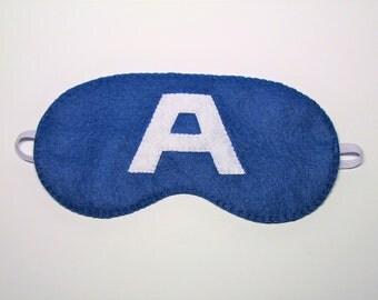 Sleep mask Captain America felt blue Pajamas Spa night sleep party favors soft eye sleeping accessory - Gift for girl kids boy him