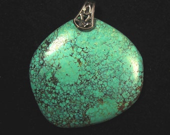 Vintage Turquoise Authenticated Pendant silver pinch bail 92ct