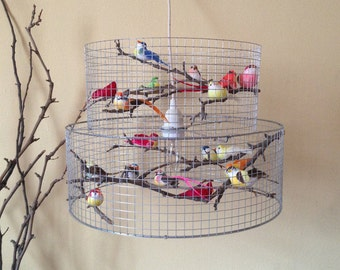 Double Birdcage Pendant Light Chandelier Lampada - Made in USA