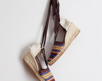 Vintage Bohemian Striped Espadrilles / Vintage Wedges / Lace up Sandals /  Size 8