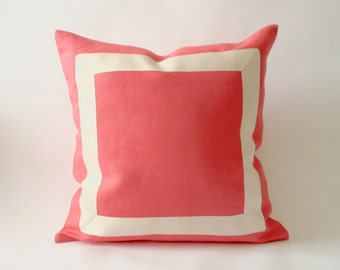 Decorative Linen Pillow Cover in Coral Pink with Off White Grosgrain Ribbon-16x16 To 26x26 - Invisible Zipper Closure- Cushion Covers