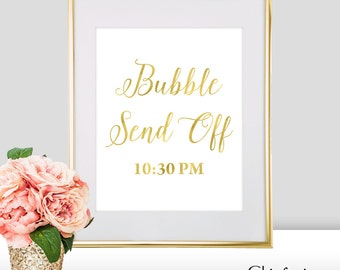 Bubble Send Off Wedding Sign - Bubble Send Off Sign - Gold Wedding Decorations - Wedding Bubble Send Off - Wedding Send Off Sign (FS2)
