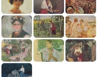 Ukrainian women. Collection / Set of 10 Vintage Prints, Postcards -- 1960s-1980s