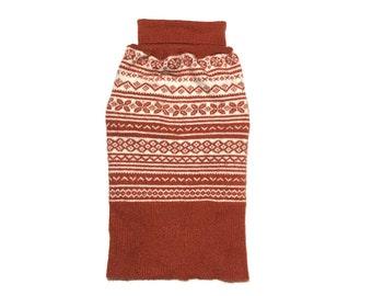 Designer Dog Sweater, Medium Soft Burnt Orange Fair Isle Turtleneck, Pet Puppy Apparel, Girl and Boy Dog Clothes 0369