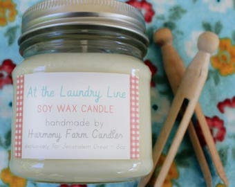 At the Laundry Line Soy Candle, Mason Jar Candle, Clean Cotton, Linen, At Home in This Life Collection, Fresh Scent, Home Fragrance