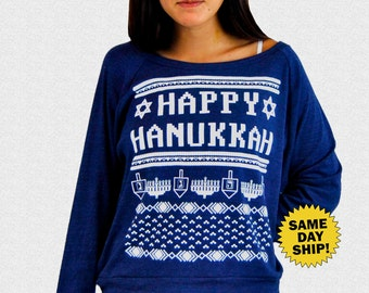 Ugly Hanukkah Sweater Women's Happy Hanukkah Sweater women's raglan pullover