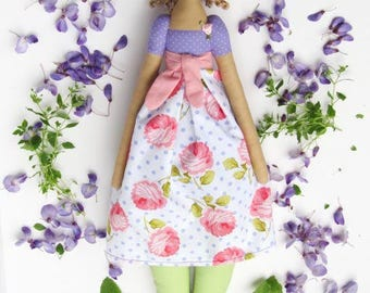 Fabric doll cute stuffed doll purple polka dot rose blonde Tilda cloth doll rag doll stuffed doll gift for girls