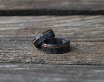 Bison Horn with Whiskey Barrel and Carbon Fiber - Ring