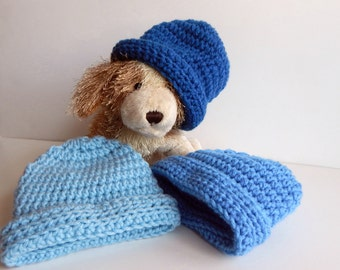 Baby Boy Crochet Hat in Blue - Set of 3 Winter Caps - Newborn