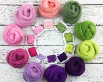 Spring Romance Merino Wool Color Palette for Nuno Felting, Spinning, Wet Felting and Needle Felting. 10 Merino Wool Spring Shades