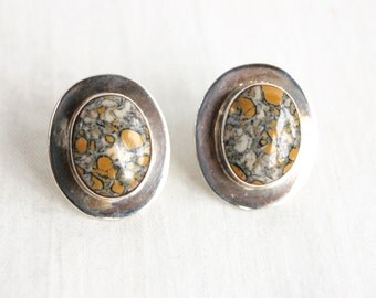 Spotted Jasper Earrings Vintage Mexican Post Studs Sterling Silver Oval Everyday Button Earrings Made in Mexico