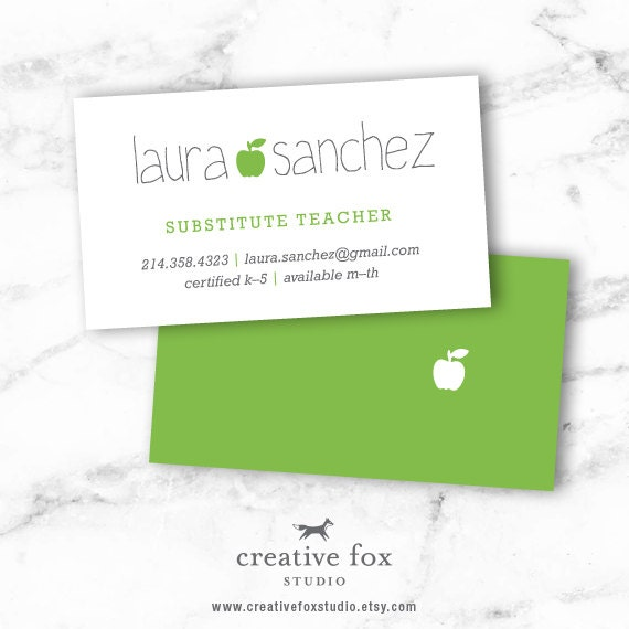 substitute business card applelicious apple printable