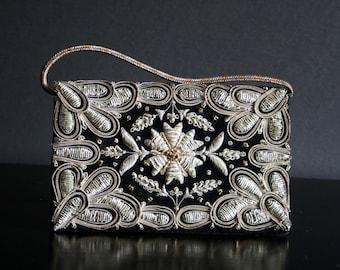 velvet purse, vintage Zardozy embroidered clutch