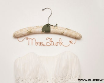Padded Wedding Hanger / Personalized Bridal Hanger / Padded Name hanger / Bride Hanger / Name Hanger / Tropical Hanger / 14 Wire Colors