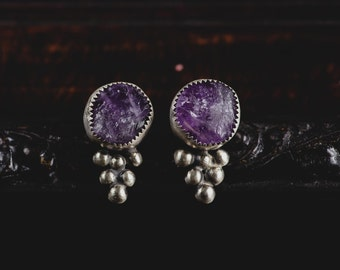 RESERVED for Yang-Amethyst Earrings-Sterling Silver Amethyst Earrings-Raw Amethyst Studs-February Birthstone Earrings-Bohemian Jewelry