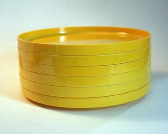 Set of SIX Vintage Yellow Vintage Heller Salad Plates