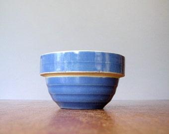 "Small Vintage Yellow Ware Bowl Blue Glaze - 5"" USA McCoy"